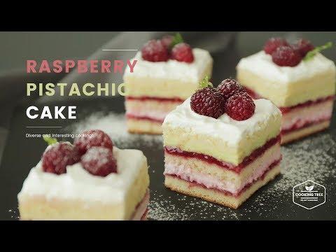 라즈베리 피스타치오 레이어 케이크 만들기 : Raspberry pistachio layer cake Recipe - Cooking tree 쿠킹트리*Cooking ASMR
