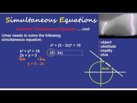 Simultaneous Equation: Quadratic Equation