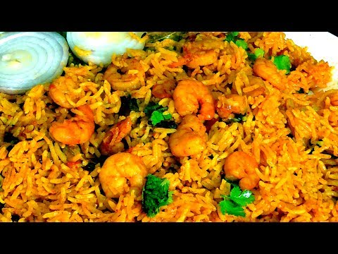 BEST PRAWNS BIRYANI COOKING in PRESSURE COOKER/  shrimp biryani recipe