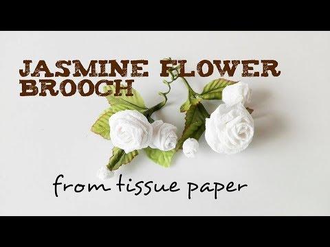 Jasmine Flower Brooch from Tissue Paper