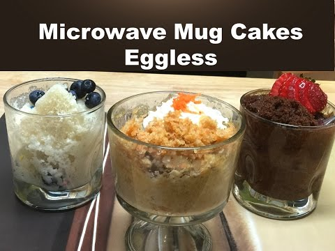 3 Classic Microwave Mug Cakes without Eggs | Vanilla, Chocolate and Carrot Cake Recipe