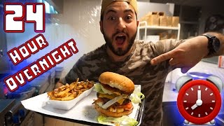 (CAUGHT) 24 HOUR OVERNIGHT CHALLENGE AT BURGER STORE! SNEAKING INTO STORE! CRAZY SATISFYING BURGER!!