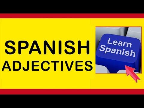 50 adjectives in Spanish tutorial, English to Spanish language.