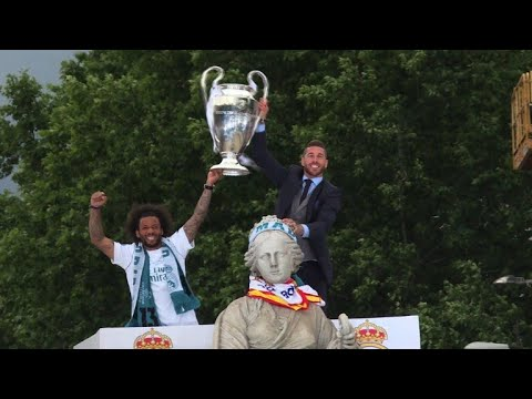 Real Madrid parade Champions League trophy in front of fans
