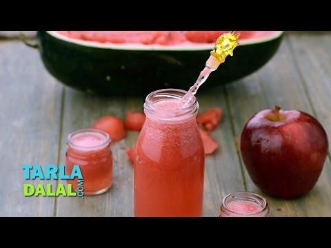 तरबूज सेब का पेय (Watermelon Apple Drink /How to make Watermelon and Apple Juice) by Tarla Dalal