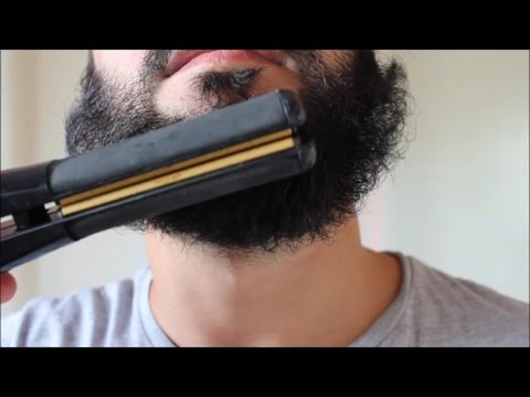 STRAIGHTENING MY BEARD WITH A HAIR STRAIGHTENER