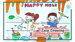How To Draw Holi Kids Celebrating Holi Festival Drawing Holi