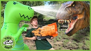 Download Giant T-Rex vs T-Rex Dinosaurs! Nerf Blaster Pretend Play with Dinosaur Water Toys for Kids Video