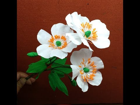 How to make Crepe Paper Flowers Japanese Anemones / Anemone hupehensis (flower # 265)
