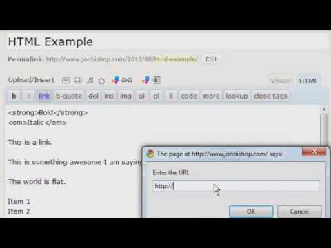 WordPress HTML Editor Example