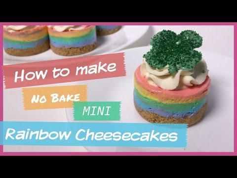 No Bake Mini Rainbow Cheesecake
