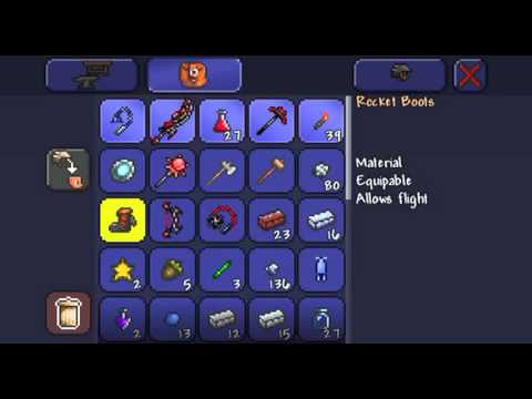 Terraria IOS Let's Play Part 7 Hunt for Life Crystals+Rocket Boots!