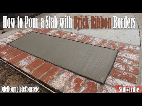 How to Pour a Concrete slab with Brick Ribbon Borders