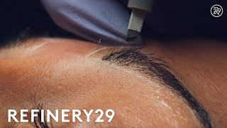 Microblading Permanent Eyebrow Tattoo Up Close   Macro Beauty   Refinery29