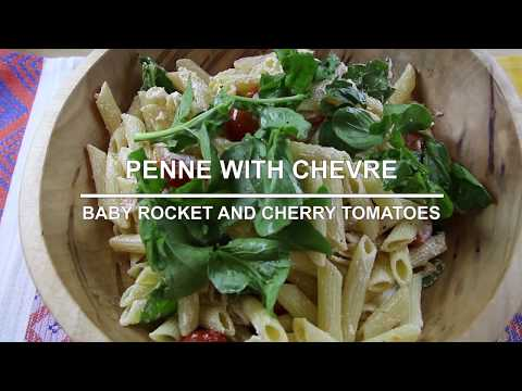 Penne with chevre, baby rocket and cherry tomatoes