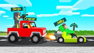 SPEEDRUNNER vs. HUNTERS With CARS! (Minecraft)