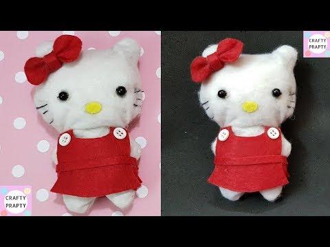 How to make Hello kitty doll/DIY Hello kitty Plush/How to make Hello kitty soft toy/How to make doll