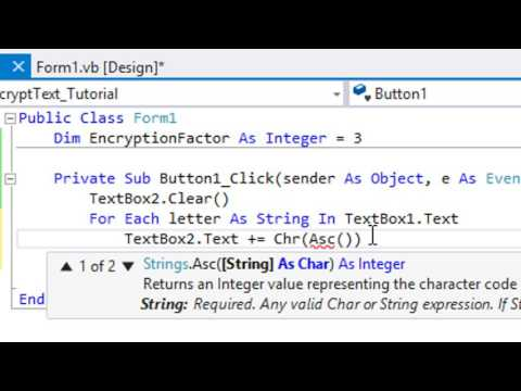 ASCII Text Encryption in VB 2015