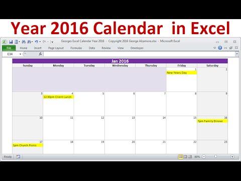 Excel Year 2016 Calendar, Full Year 2016 Calendar, 2016 Monthly Calendars, Holidays