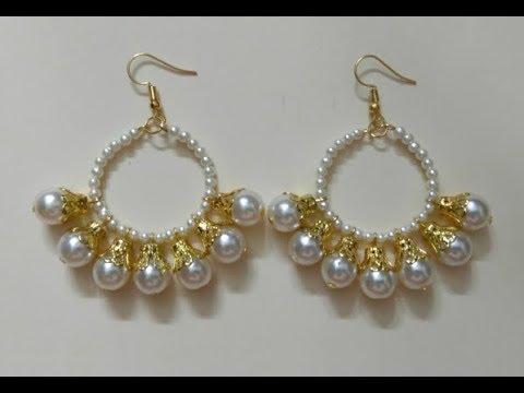 How to make Pearl Hoop Earrings at Home, DIY Pearl Chandbali Earrings, Make Earrings in under 5 min