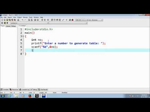 C Program to Generate a Table for given numbers