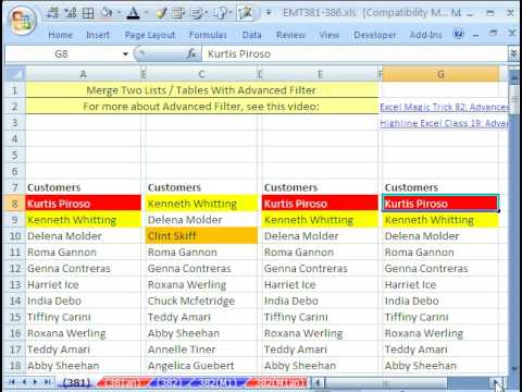 Excel Magic Trick 381: Merge Two Lists Tables w Advanced Filter and Remove Duplicates Feature