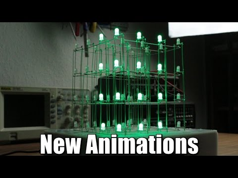 Build your own 4x4x4 RGB LED Cube Part 4: new animations