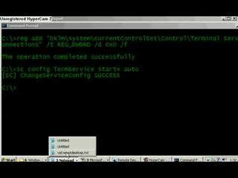 Enable remote desktop with telnet utility (CMD)