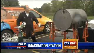 Crush a steel 55 gallon barrel with air pressure