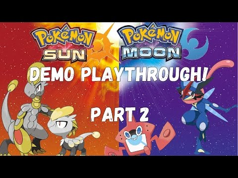 Sun and Moon Demo!!! Part 2! Ash-Greninja! Trials! Poke Finder! Z-Moves!!!