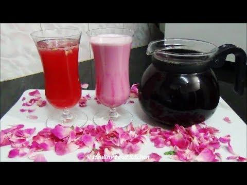 Homemade Rose Syrup Recipe-Rose Essence Recipe-Rose Milk Recipe - Juice Recipe - Rose Sarbath Recipe