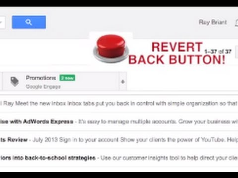 How to remove the gmail categories and revert back to the old style gmail