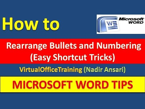 Word Tips (How to Rearrange Bullets and Numbering (Easy Shortcut Tricks))