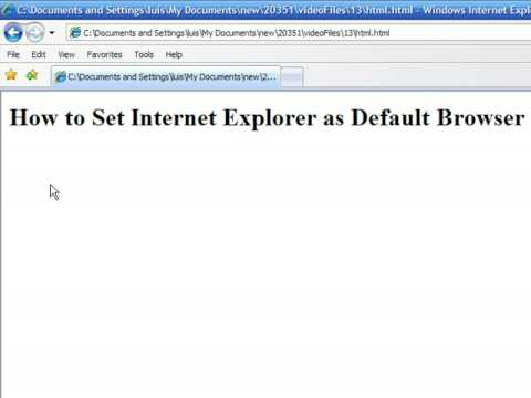 How to Use an Internet Web Browser : How to Set Internet Explorer as Default Browser