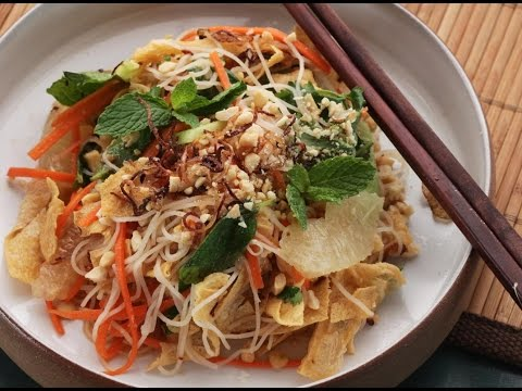 Recipe of Vietnamese Citrus and Noodle Salad With Fresh Herbs and Fried Yuba Tofu Skin