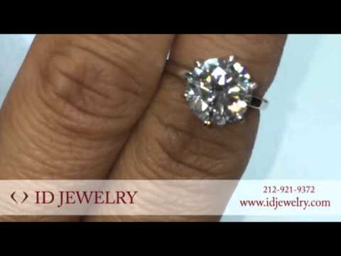 3 Ct Solitaire Diamond Ring In Classic Tiffany Setting 6 Prongs in Platinum