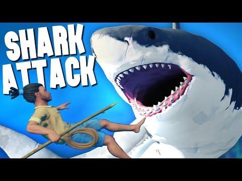HUNTED BY A MASSIVE SHARK! - Raft Ep 1
