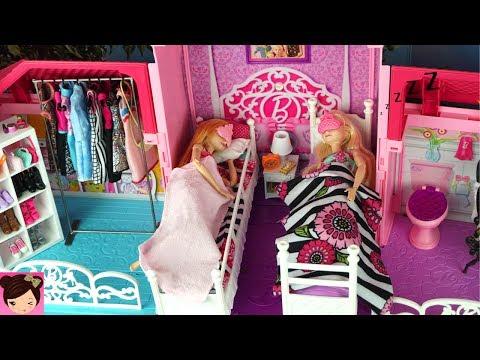 Barbie House Morning Routine Princess Bedroom Frozen Queen Elsa & Anna - Barbie Car , Doll Dress up