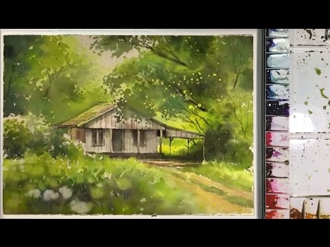 Watercolor Painting : Little House in the Garden