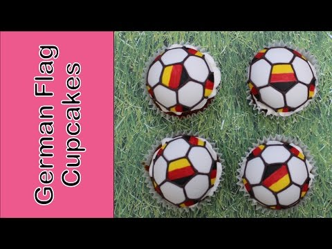 Tribute to Germany - how to make German flag soccer cupcakes