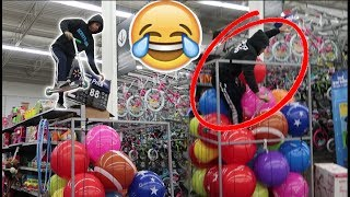 SCOOTER BALL PIT JUMP IN WALMART! (BAD IDEA)