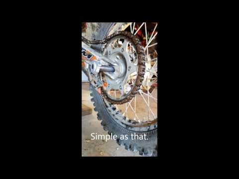 removing/re-installing rear dirtbike wheel/tire in 45 seconds
