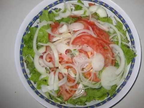 Fried Chicken Wings & Salad - CACH LAM XA LACH AN CANH GA CHIEN - How to make salad