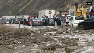 California Drivers Stranded After Flash Floods Trigger Massive Mudslides