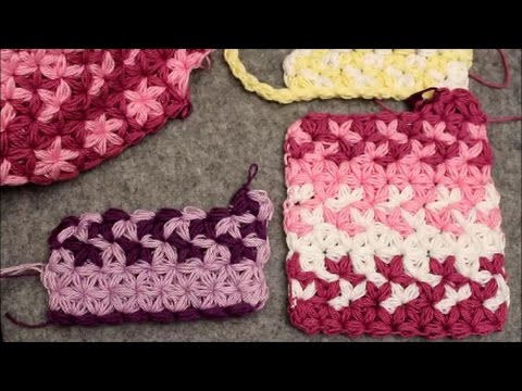 Change Colors - Puffed Star Stitch Rectangle - Crochet Tutorial - Baby Blanket or Scarf