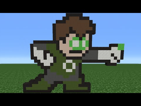Minecraft Tutorial: How To Make Green Lantern (8-Bit)