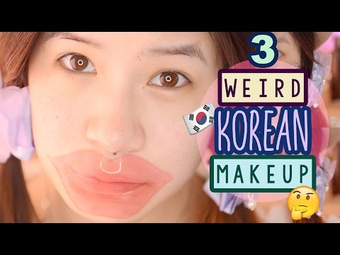 TRY ON WEIRD KOREAN MAKEUP PRODUCTS | CREAM CHEESE MOISTURIZER?!
