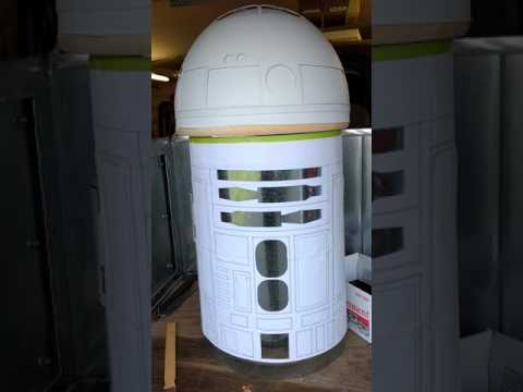 R2D2 life-size droid build out of everyday items.