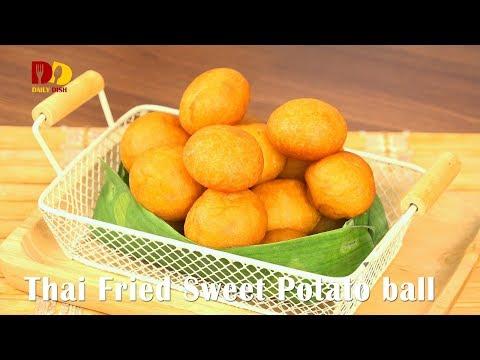 Thai Fried Sweet Potato Ball | Thai Dessert | Kai Nok Krata | ขนมไข่นกกระทา
