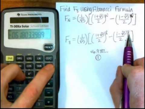Fibonacci Formula on TI-30Xa Calculator
